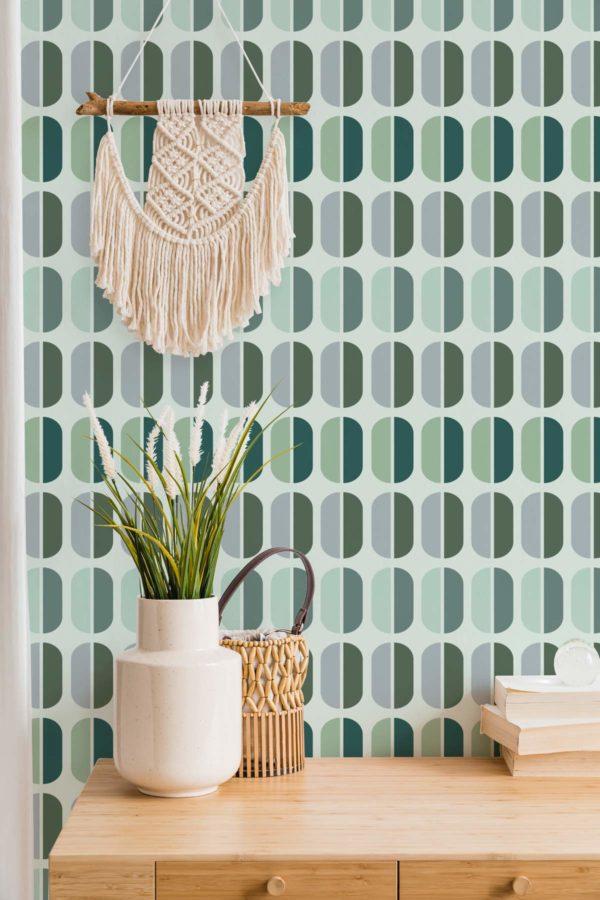 green retro self-adhesive wallpaper