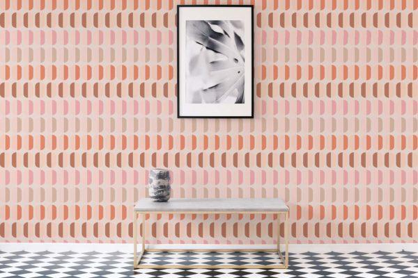 pink retro removable wallpaper