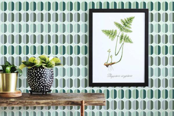 green retro removable wallpaper
