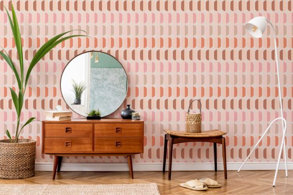 pink retro wallpaper roll