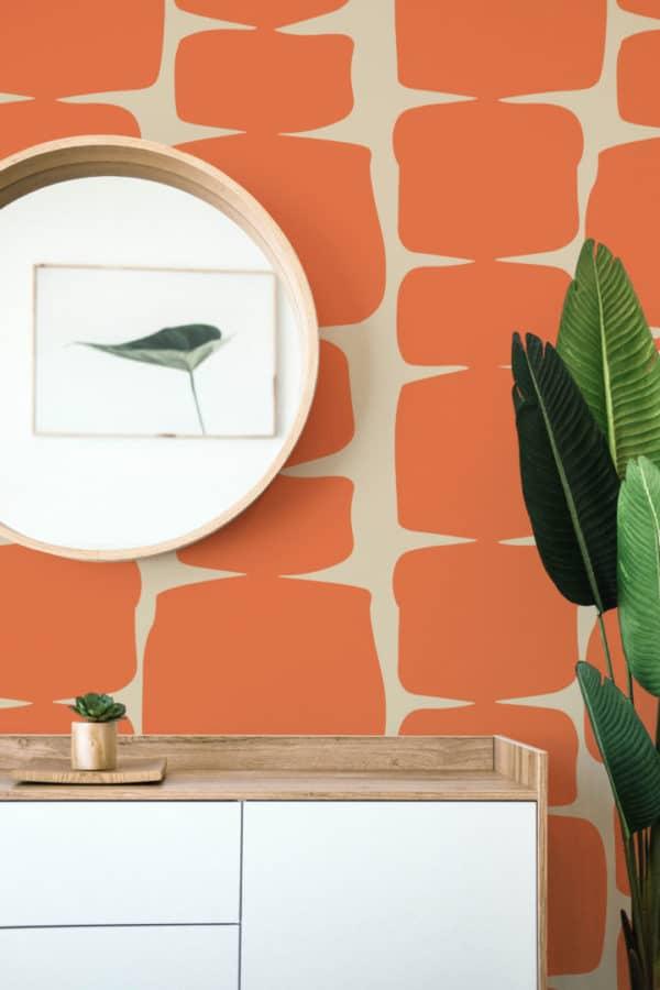 orange retro shape self-adhesive wallpaper