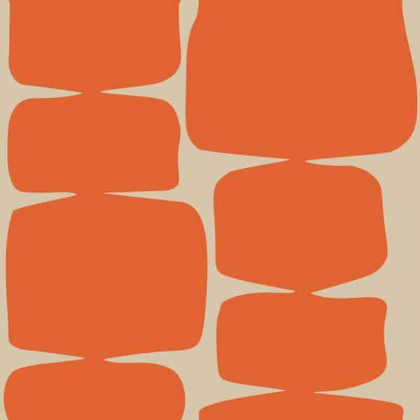 orange retro shape peel and stick removable wallpaper