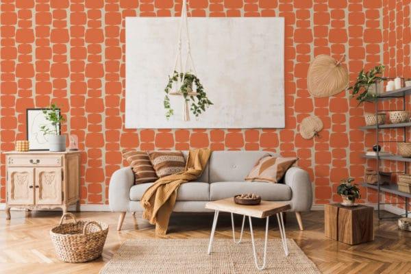 orange retro shape removable wallpaper