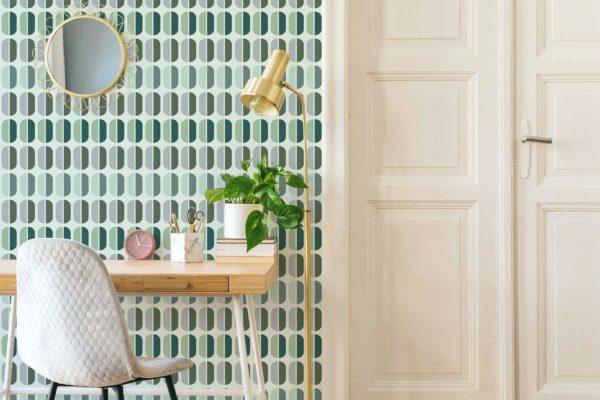 green retro wallpaper peel and stick