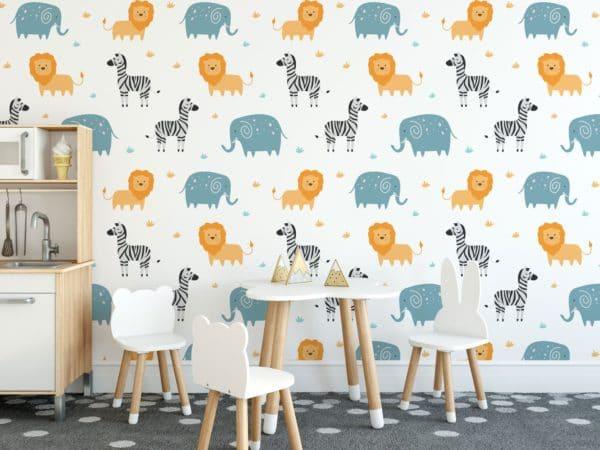 Various safari animals on wall