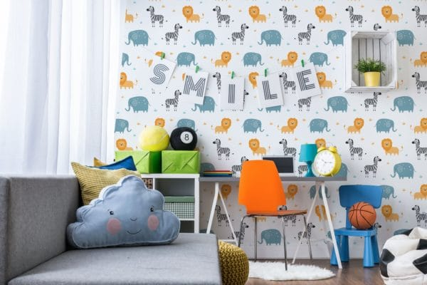 Safari wallpaper in playroom