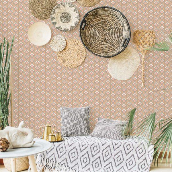 Sand geometric retro pattern wallpaper