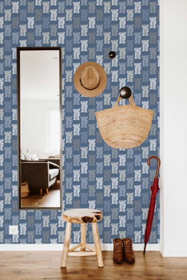 blue scandi floral peel and stick wallpaper