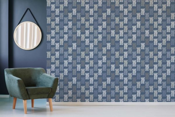 blue scandi floral removable wallpaper
