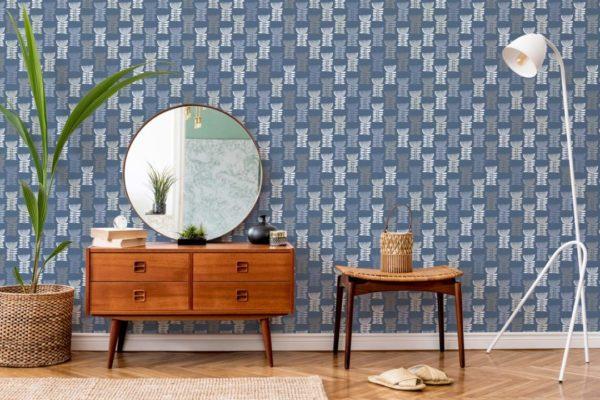 blue scandi floral wallpaper peel and stick