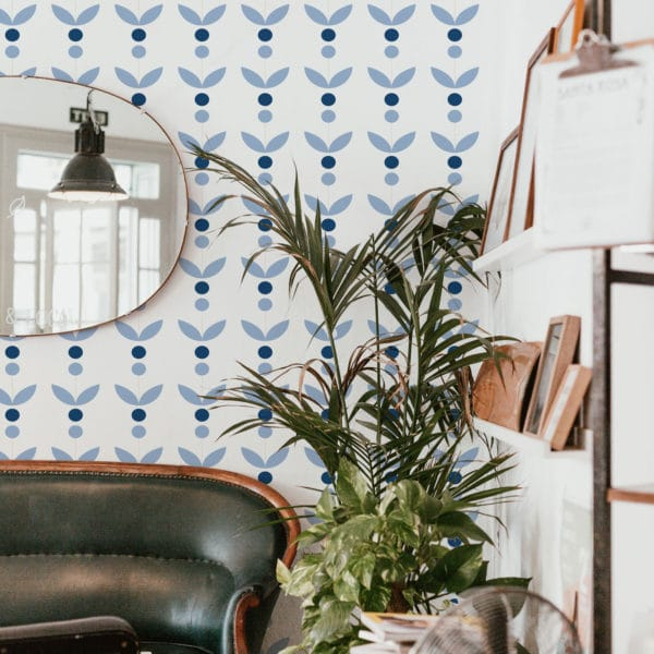 blue and white scandinavian removable wallpaper