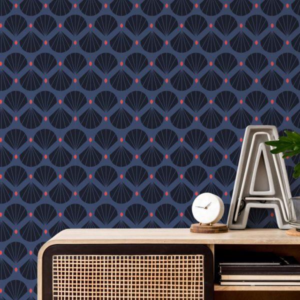 blue shell retro removable wallpaper