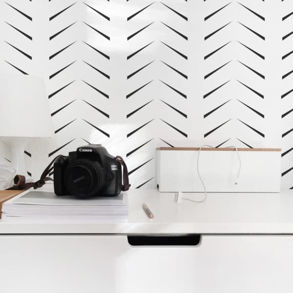 black simple herringbone peel and stick wallpaper