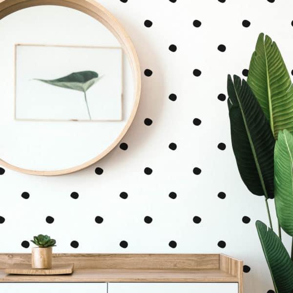simple polka dots stick and peel wallpaper