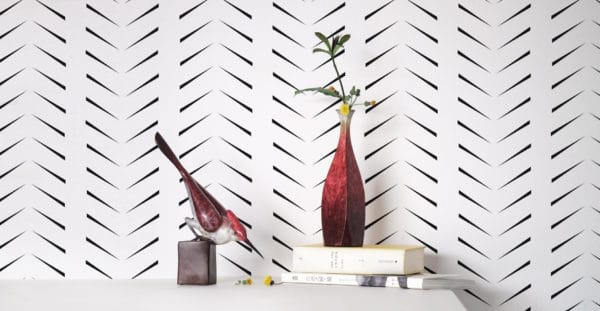 custom color black delicate herringbone wallpaper