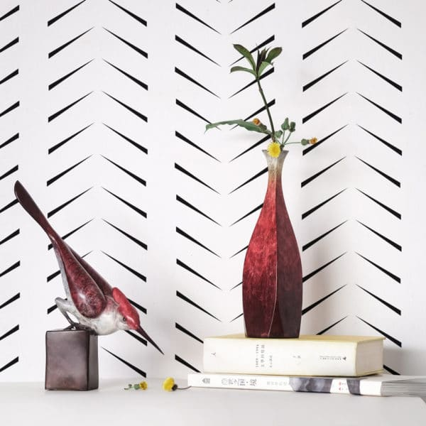 black simple zig-zag herringbone peel and stick wallpaper