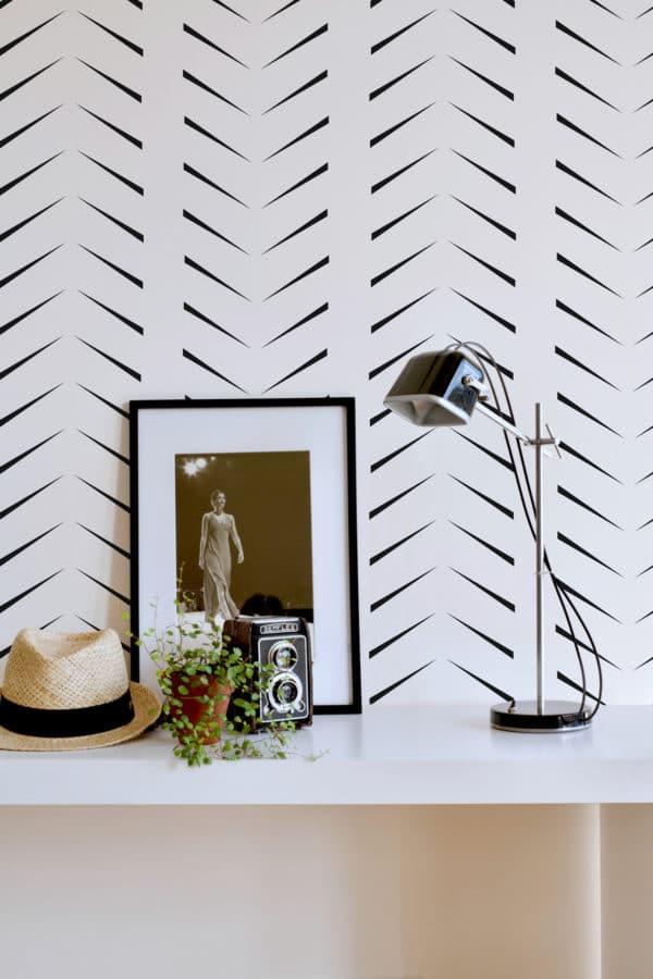 black simple zig-zag herringbone peel and stick removable wallpaper
