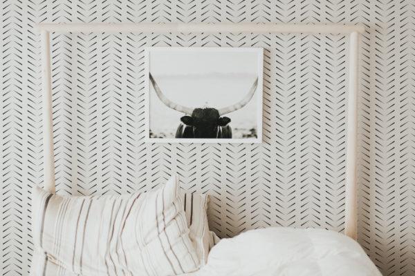 simple zig-zag herringbone stick and peel wallpaper