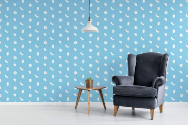 sky blue and white dot and stroke peel and stick wallpaper