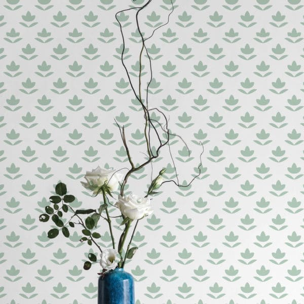 green and white small leaf peel and stick removable wallpaper