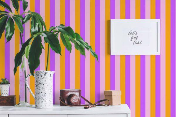 pink and orange stripe peel and stick wallpaper