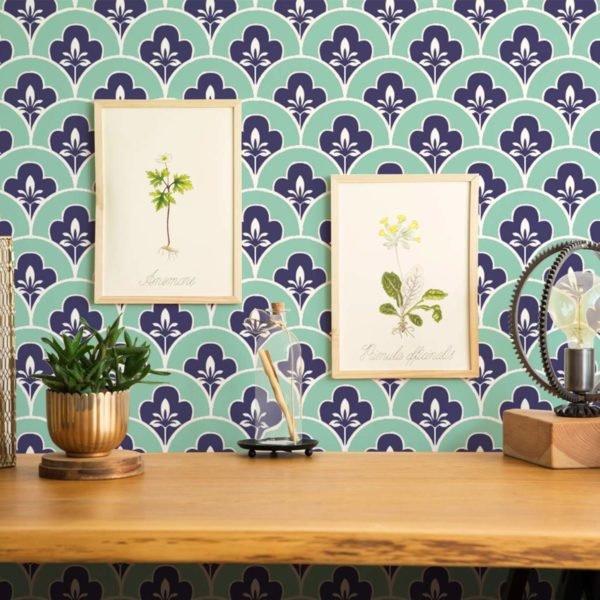 teal vintage peel and stick removable wallpaper