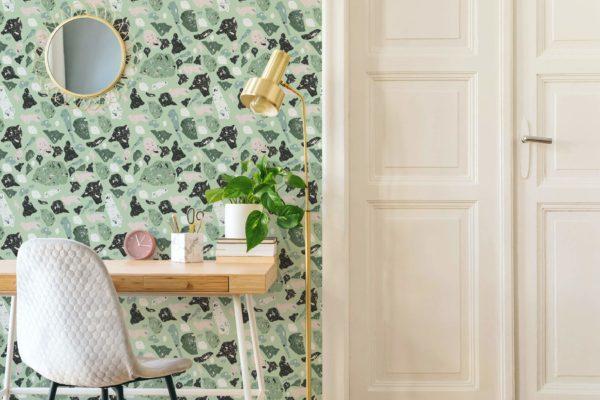 green terrazzo peel and stick wallpaper