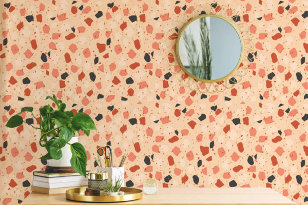 colorful terrazzo peel and stick removable wallpaper