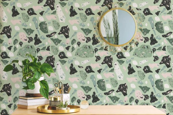 green terrazzo peel and stick removable wallpaper