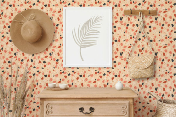 colorful terrazzo peel and stick wallpaper