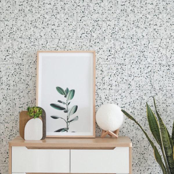 black and white terrazzo tile peel and stick wallpaper