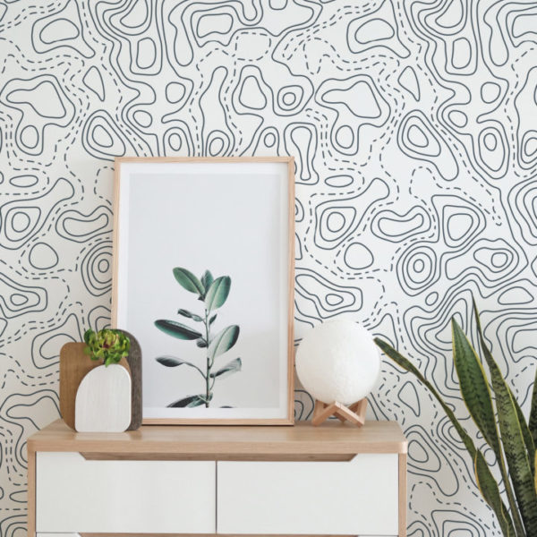 charcoal topography removable wallpaper
