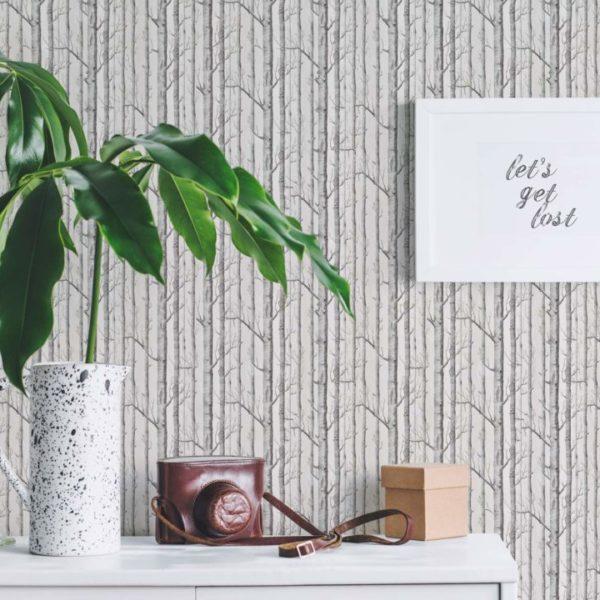 gray tree self-adhesive wallpaper
