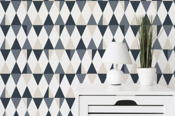 gray triangle peel and stick wallpaper