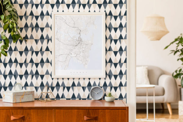 gray triangle self-adhesive wallpaper
