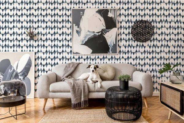 gray triangle wallpaper roll