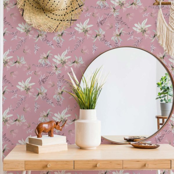 tropical floral stick and peel wallpaper
