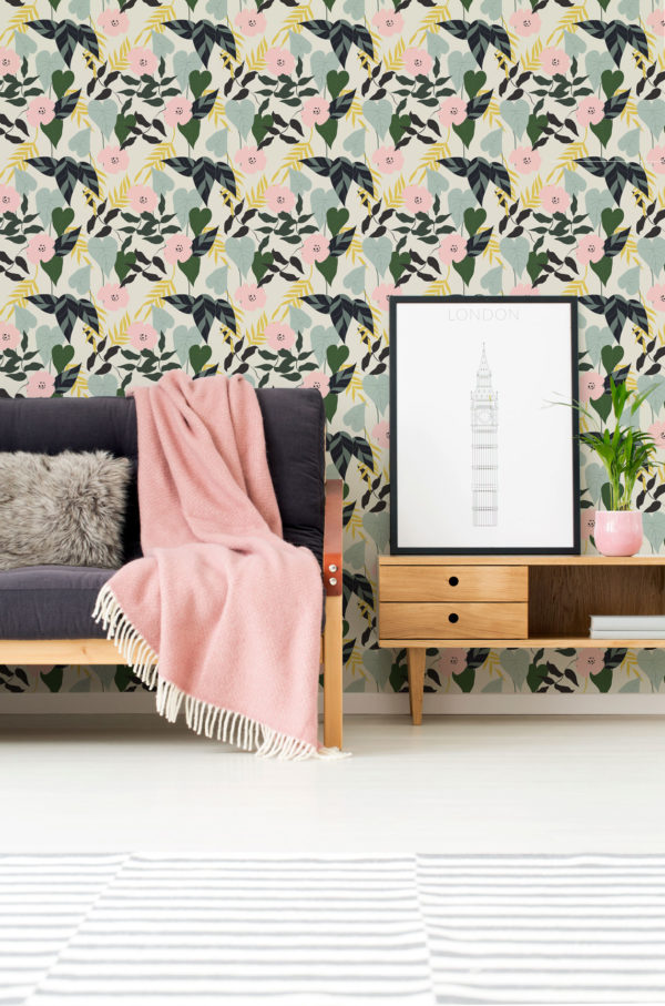 tropical leaf and flower stick and peel wallpaper