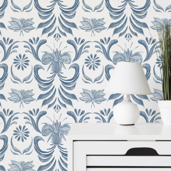 blue vintage floral peel and stick wallpaper