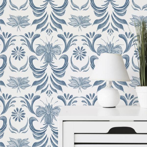 blue vintage floral peel and stick wallpaper