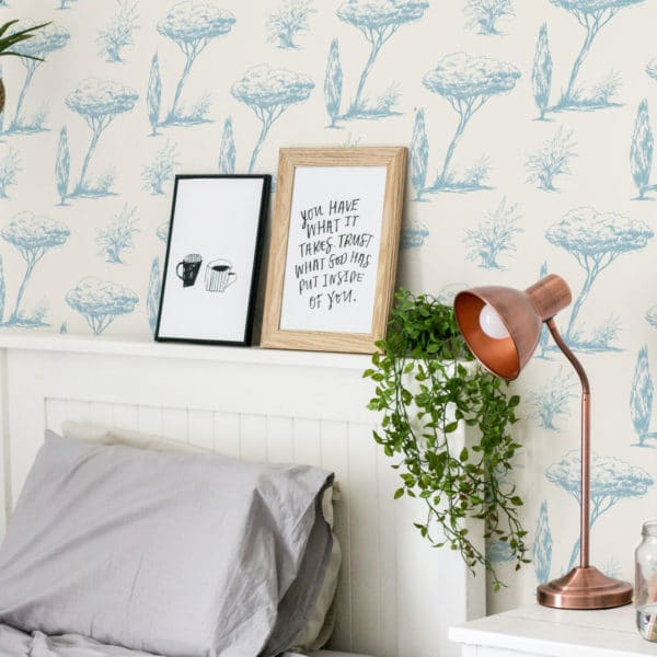 blue vintage tree self-adhesive wallpaper