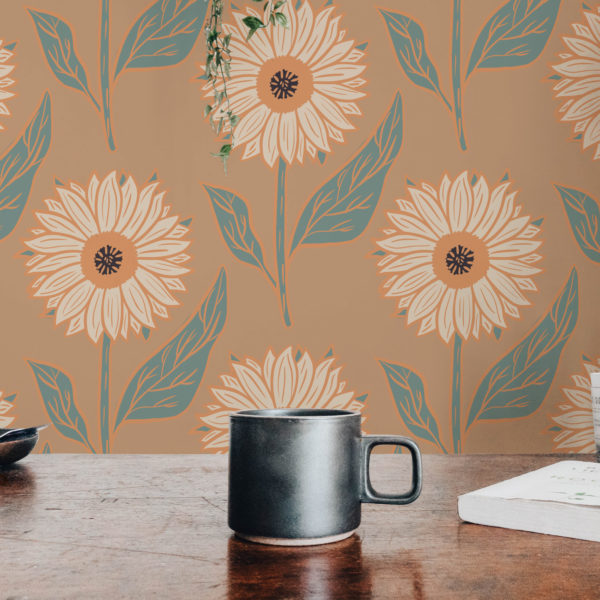 warm sunflower floral stick and peel wallpaper