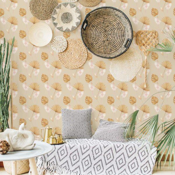 warm tropical leaf peel stick wallpaper