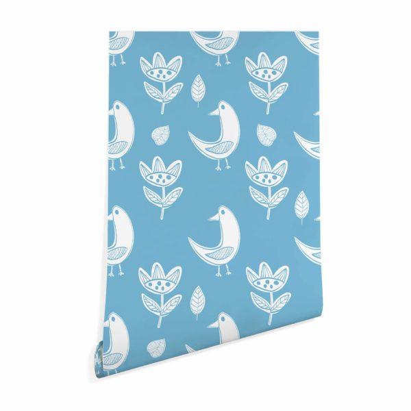 boho bird stick and peel wallpaper