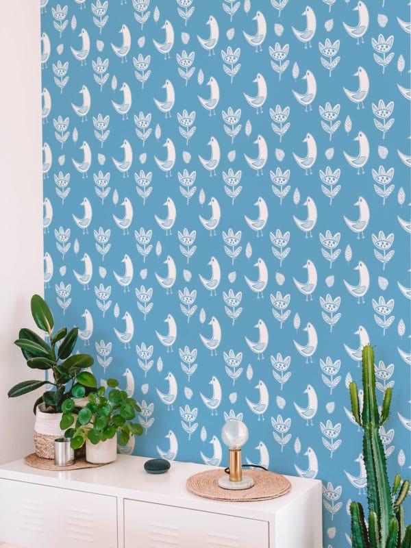 boho bird peel stick wallpaper