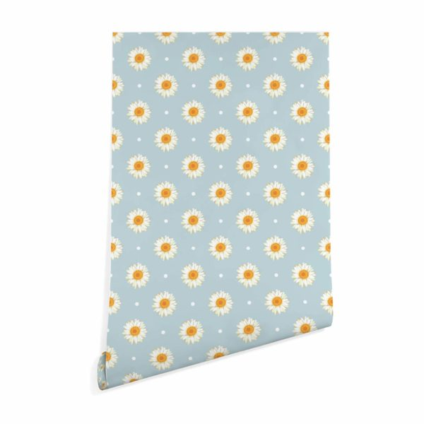 daisy polka dots stick and peel wallpaper
