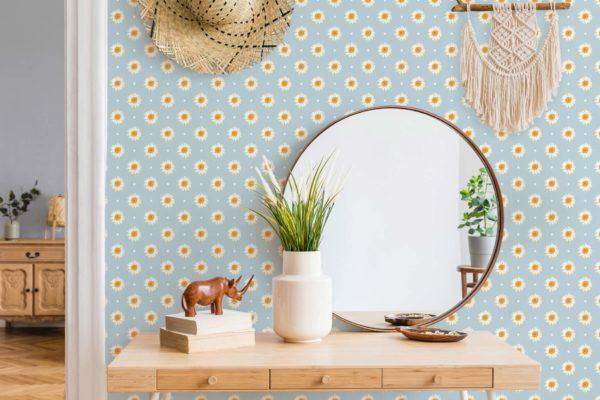 daisy polka dots peel stick wallpaper