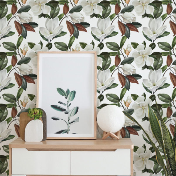 white and green bold floral wallpaper roll