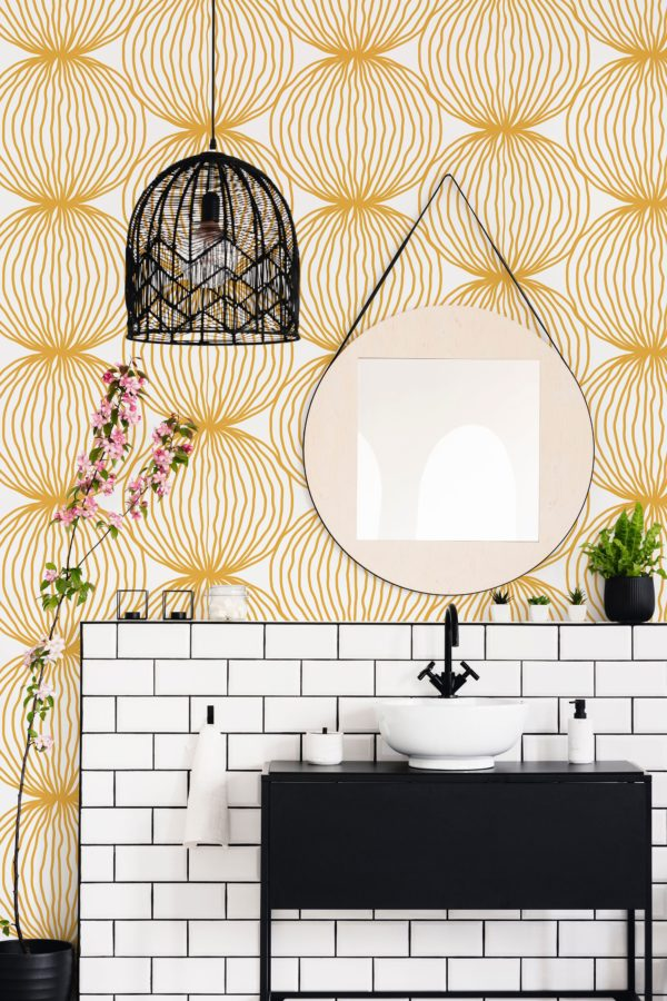 minimal circle bathroom wallpaper