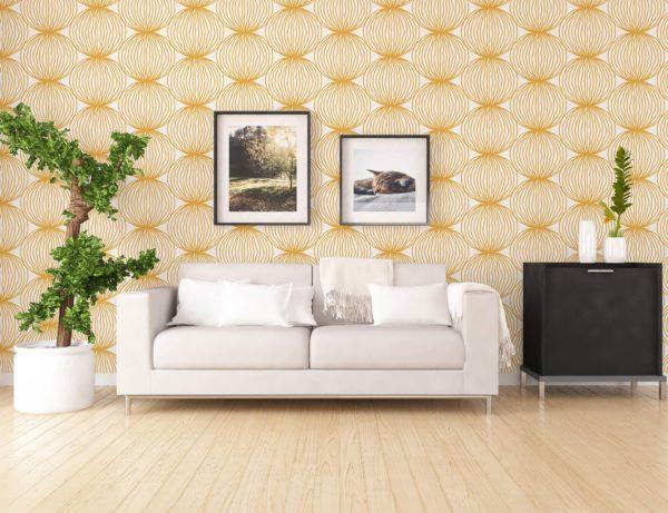 wallpaper next to sofa